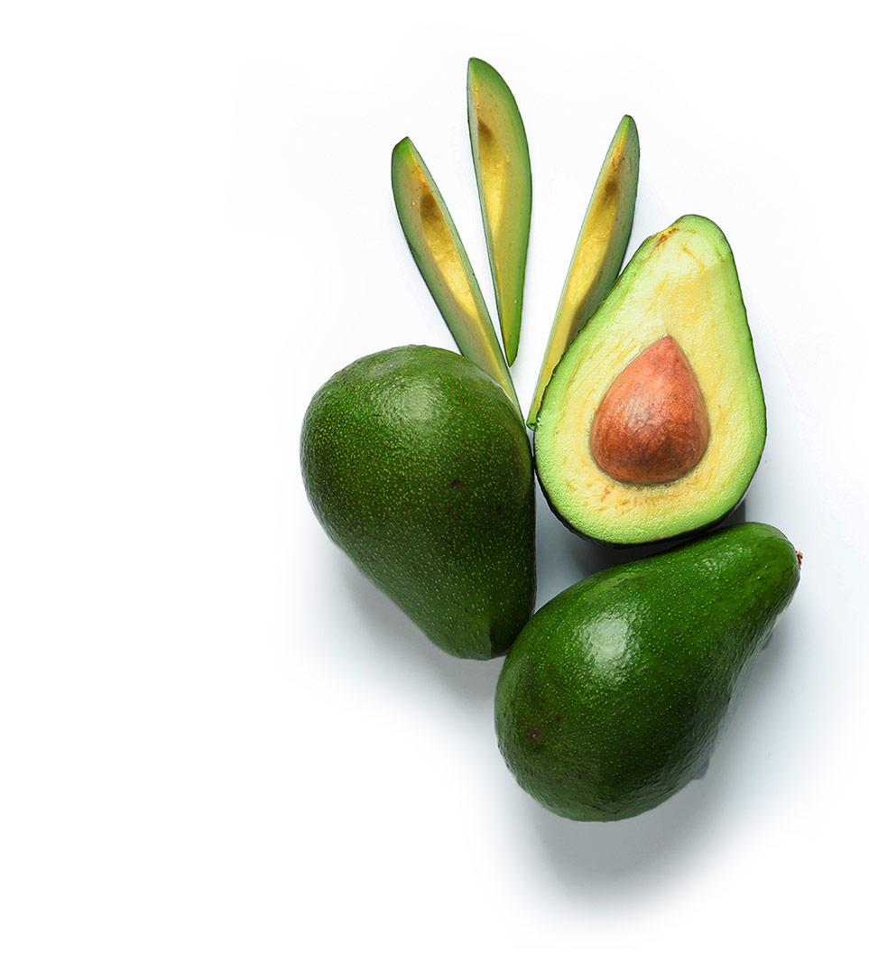 Ripe Avocados On White Background