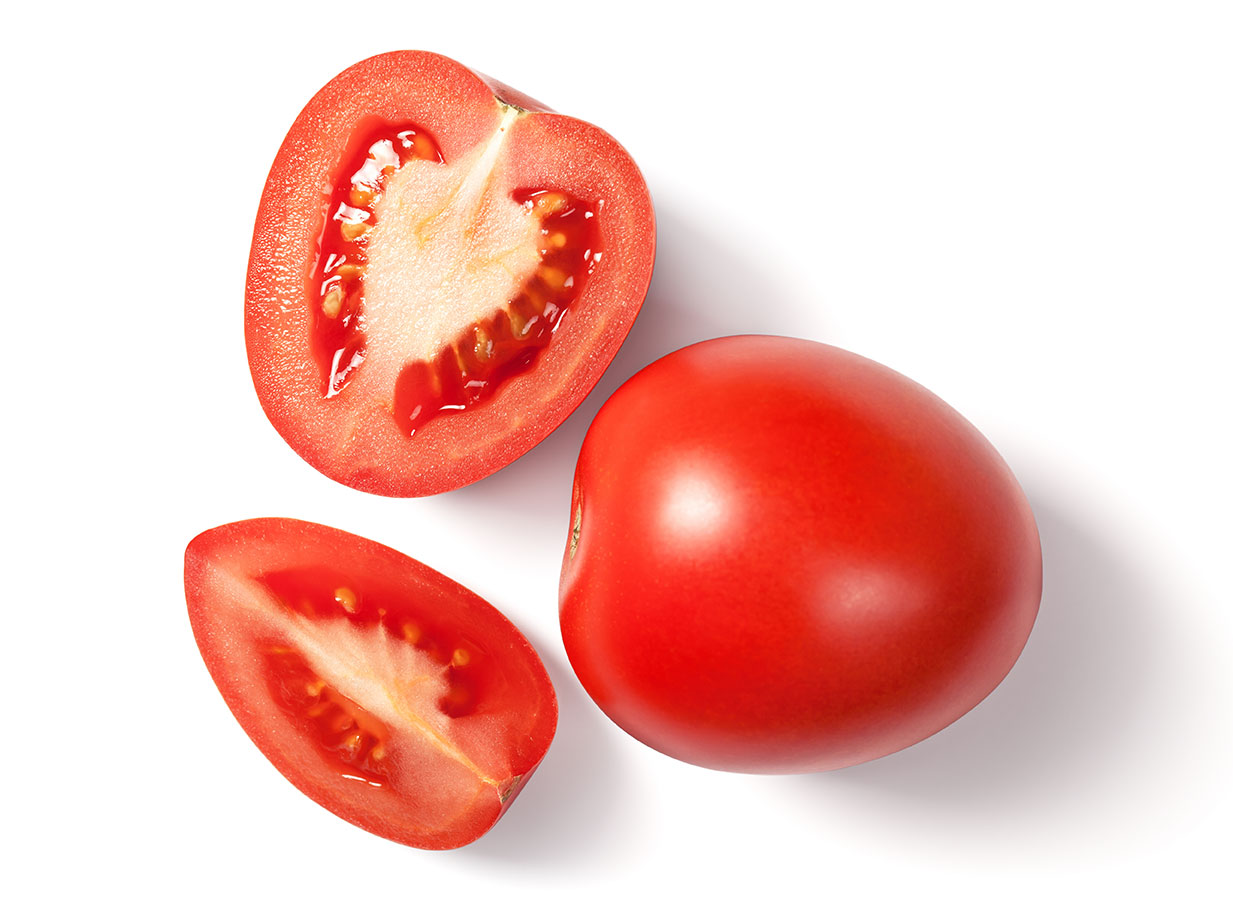 Tomatoes against a whit background